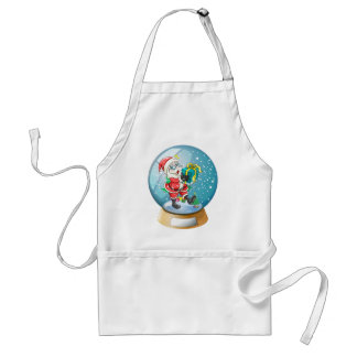 Santa Claus holding a gift inside the snow ball Adult Apron