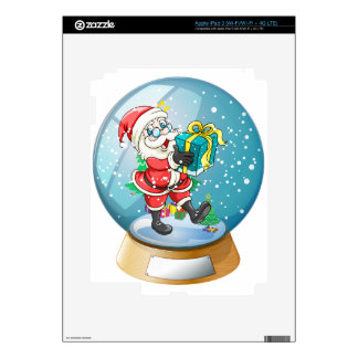 Santa Claus holding a gift inside the snow ball Decal For iPad 3