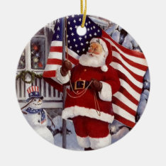 Santa Claus Holding American Flag Ceramic Ornament at Zazzle