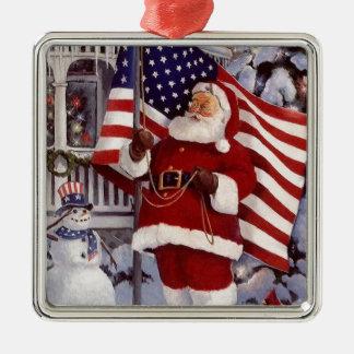 Santa Claus Holding American Flag Metal Ornament