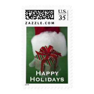 Santa Claus holding Christmas gift Postage