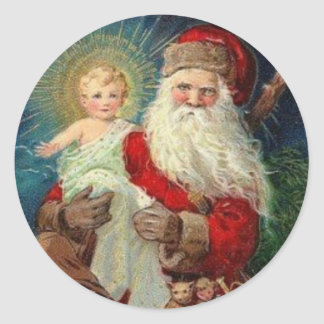 Santa Claus holding the Baby Jesus Classic Round Sticker
