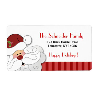 Santa Claus Holiday Address Label (Red Stripe)