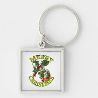 Santa Claus Holly Keychain