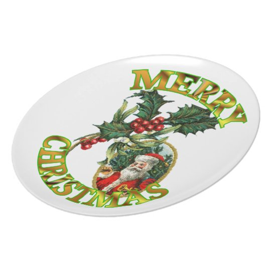 Santa Claus Holly Melamine Plate