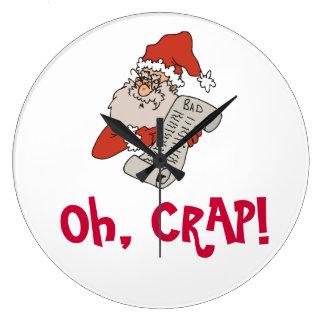 Santa Claus Humor Santa Catches Naughty People Large Clock