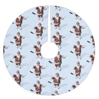 Santa Claus Ice Hockey Player Brushed Polyester Tree Skirt