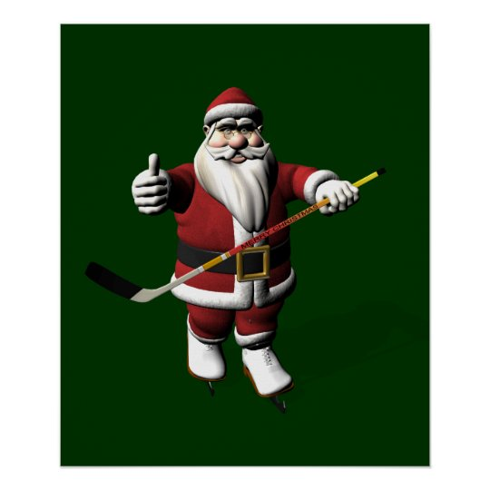Santa Claus Ice Hockey Player Poster