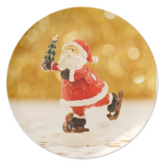 Santa Claus Ice Skating Christmas Melamine Plate