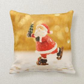 Santa Claus Ice Skating Christmas Throw Pillow