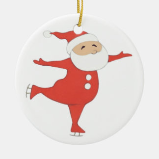 Santa Claus ice-skating {ornament} CUSTOMIZE Double-Sided Ceramic Round Christmas Ornament