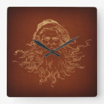 Santa Claus Illustrated Vintage Christmas Art Square Wall Clock