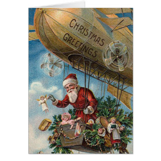 """Santa Claus in a Blimp"" Christmas Card"