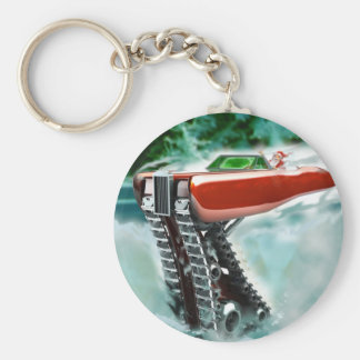Santa Claus in a Red Rolls Royce Sleigh Keychain