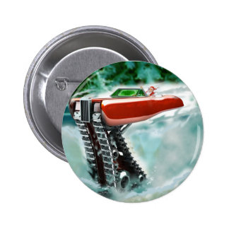 Santa Claus in a Red Rolls Royce Sleigh Pinback Button