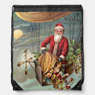 Santa Claus in Airship 3 Drawstring Bag