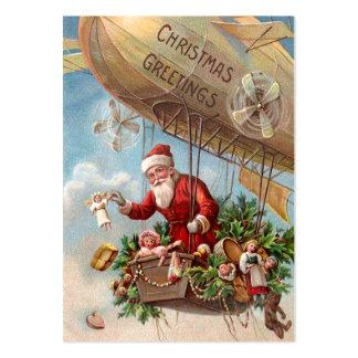 Santa Claus in Airship Large Business Card