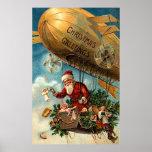 Santa Claus in Airship Print