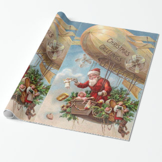 Santa Claus in Airship Wrapping Paper