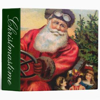 Santa Claus in Automobile 3 Ring Binder