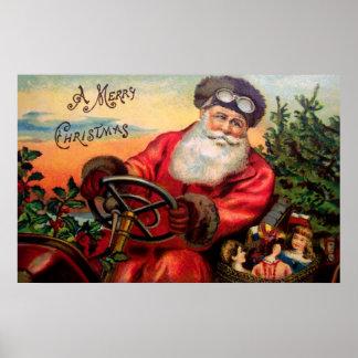 Santa Claus in Automobile Poster