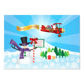 Santa Claus in Biplane Flying Over Winter Snow Card