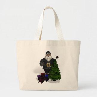 Santa Claus In Black Leather Bag