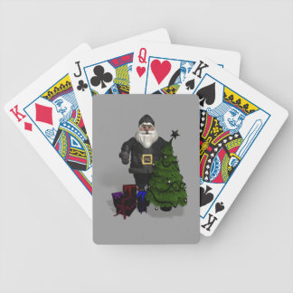 Santa Claus In Black Leather Bicycle Playing Cards