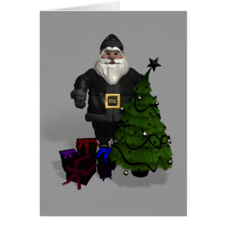 Santa Claus In Black Leather Card