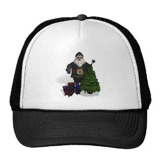 Santa Claus In Black Leather Mesh Hat