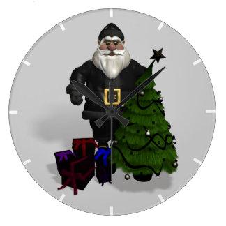 Santa Claus In Black Leather Large Clock