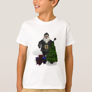 Santa Claus In Black Leather T-Shirt