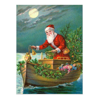 Santa Claus in Boat Card