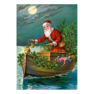 Santa Claus in Boat Large Business Card