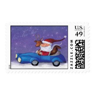 Santa Claus in Cabrio Postage Stamp