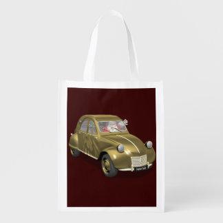 Santa Claus In Citroen 2CV Reusable Grocery Bag