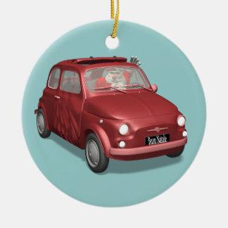 Santa Claus In Fiat 500 Ceramic Ornament