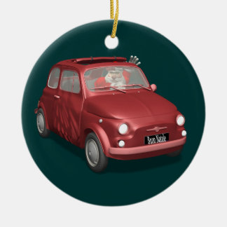 Santa Claus In Fiat 500 Double-Sided Ceramic Round Christmas Ornament