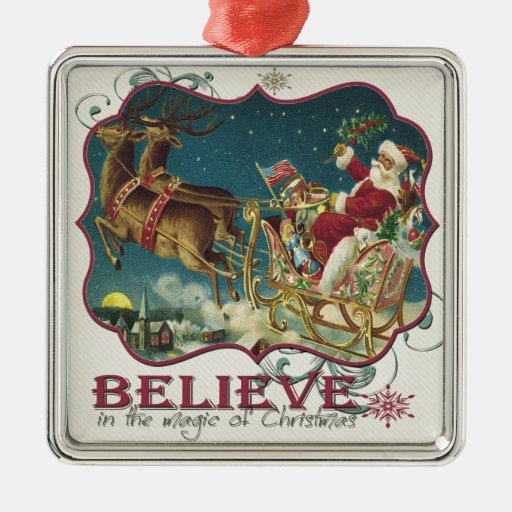 Santa Claus in Flying Sleigh.jpg Square Metal Christmas Ornament