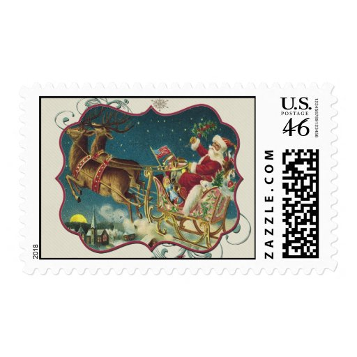 Santa Claus in Flying Sleigh Postage Stamps