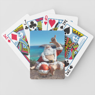 Santa Claus in Hawaii Bicycle Playing Cards