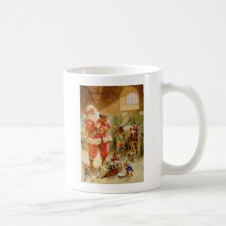 Santa Claus in his North Pole Reindeer Stables Coffee Mug