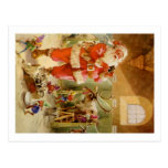 Santa Claus in his North Pole Reindeer Stables Post Card