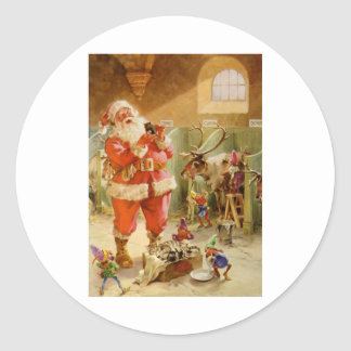 Santa Claus in his North Pole Reindeer Stables Sticker