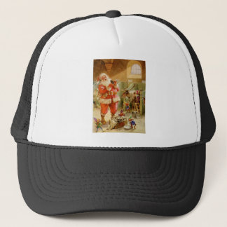 Santa Claus in his North Pole Reindeer Stables Trucker Hat