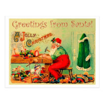 Santa Claus in his workshop, vintage Christmas Postcard