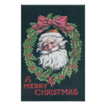 Santa Claus in Holly Wreath Posters