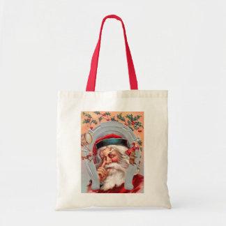 Santa Claus in Horseshoe Budget Tote Bag