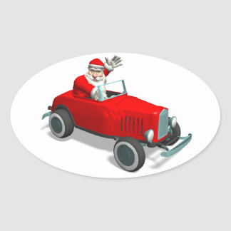 Santa Claus In Hot Rod Oval Sticker
