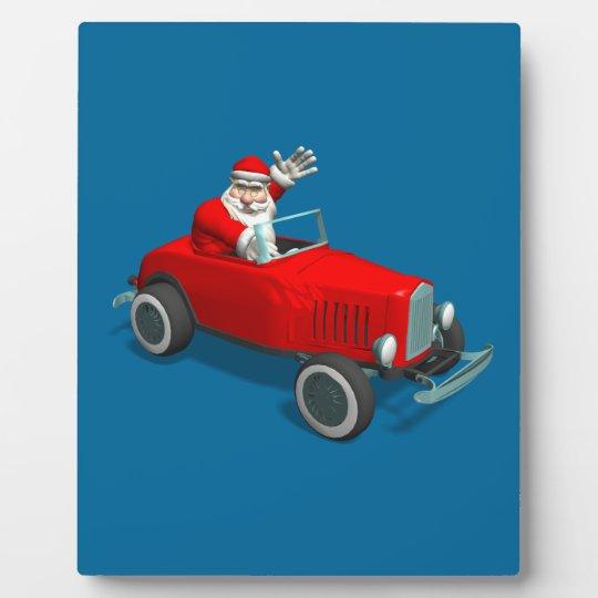 Santa Claus In Hot Rod Plaque